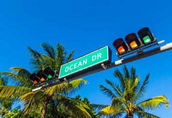 Ocean Drive road sign and traffic lights in Miami, Florida