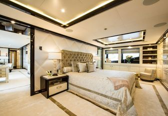 master suite on charter yacht elixir