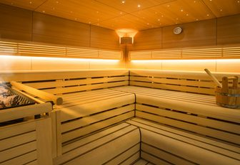 Sauna aboard luxury yacht SOLANDGE