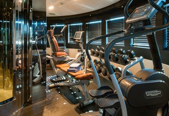 Fully equipped gym on superyacht RARITY