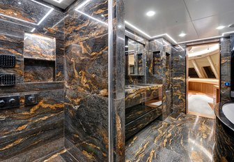 Marble en suite bathroom on sailing yacht ARESTEAS