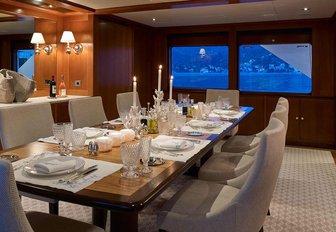 formal dining area on board motor yacht ANCALLIA