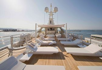 superyacht top deck lounge area on luxury yacht