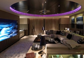 media room with huge tv screen on board superyacht SEALYON