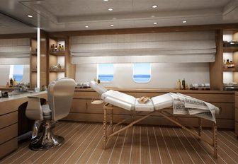 massage table in treatment room on board motor yacht spectre