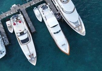 aerial image of yachts at bahamas charter show