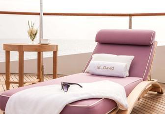 A bespoke sunlounger on board superyacht 'St David'