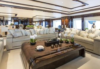 relax in the skylounge with shagreen coffee table aboard superyacht 'Illusion V'