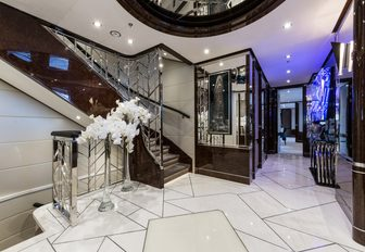 Lobby area with foot of stairwell on board luxury yacht 11/11