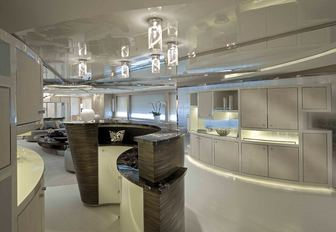 ibiza style interiors of luxury megayacht