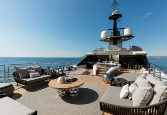 aft section of the sundeck with spa pool and seating aboard charter yacht SOLO