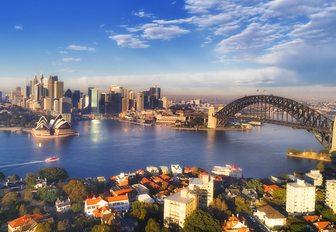 Sydney Opera House and iconic bridge in Sydney harbour