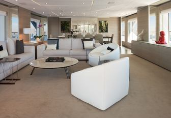 sociable and contemporary main salon on board luxury yacht Cheers 46