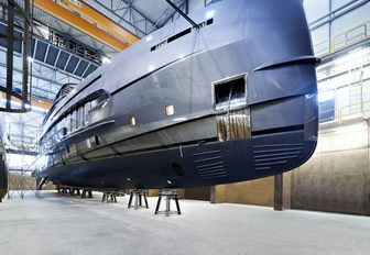 Superyacht ERICA in the shipyard.  Shot from underneath the hull her size is clear