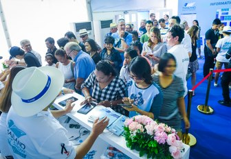 visitors queue to enter the Thailand Yacht Show 2016
