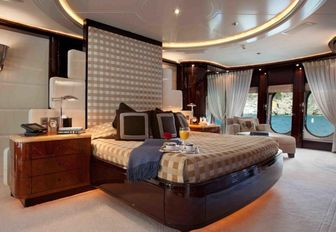 A guest cabin featured on board motor yacht DREAM