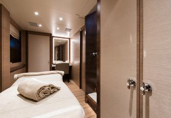 The dedicated massage table available to charter guests on board superyacht 'Silver Wind'