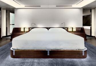 cool and contemporary master suite aboard luxury yacht VERTIGO
