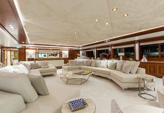 Comfortable interiors O'MEGA superyacht with expansive sofa