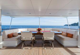 luxe alfresco dining area aboard superyacht GO