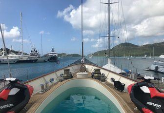 view of Antigua Charter Yacht Show 2017 from the foredeck of superyacht NERO