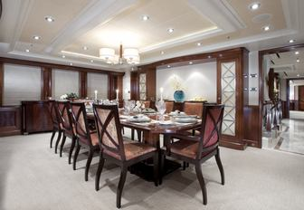 The formal dining area located on the main deck of superyacht KATYA