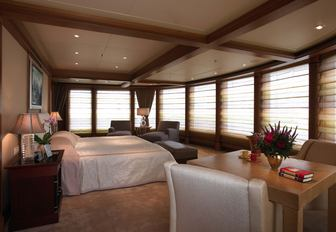 the stylish and welcoming master stateroom in charter yacht utopia