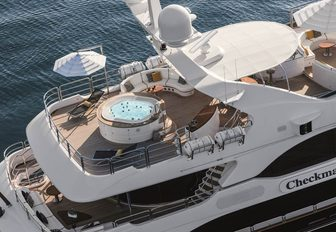 Jacuzzi sun deck of charter yacht CHECKMATE