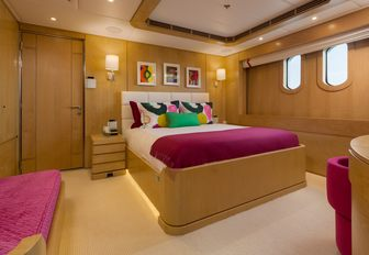 Queen bed in cabin on Superyacht BACA