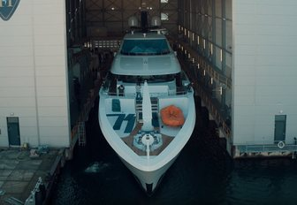 foredeck of motor yacht VIVA as she emerges from the shed on day of her launch