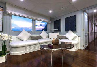 Comfortable seating on Superyacht CHAKRA