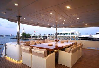alfresco dining area on the main deck aft of motor yacht TATIANA