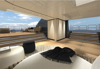 the shaded aft deck of superywacht severin with luxurious sun pads and plenty of deck sdpace