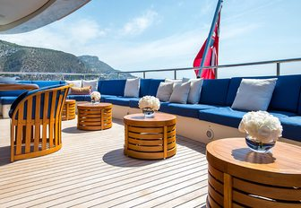 main deck aft seating on board motor yacht MISCHIEF