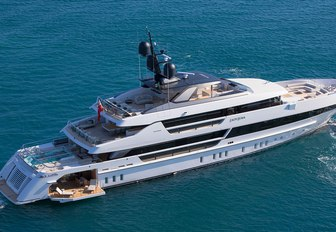 Aerial shot of luxury charter yacht Lady Lena sailing during the day