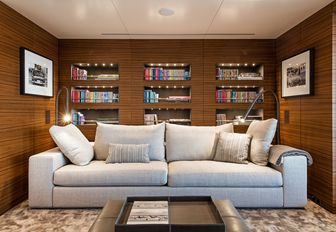 media salon with comfortable sofa and shelves aboard motor yacht 'Silver Fast'
