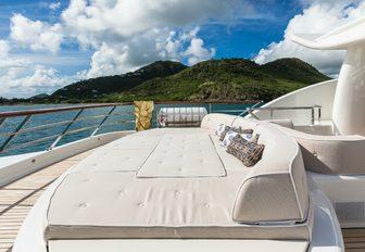 oversized sunpad on the sundeck of luxury yacht DENIKI