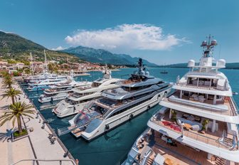 superyachts lined up in Porto Montenegro, Bay of Kotor