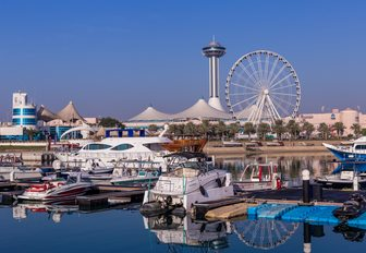 view of Marina Mall from across the water in Abu Dhabi