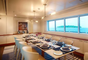 formal dining area in the interior of charter yacht SENSES