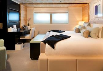 The guest accommodation on board motor yacht EYSIAN