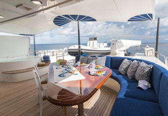 all inn superyacht aft deck dining with shading