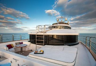 secluded spot for lounging on the foredeck of motor yacht CHECKMATE