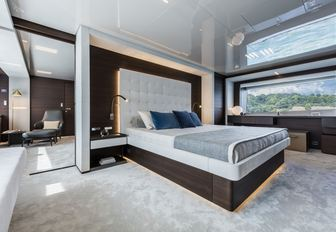 calm and tranquil master suite on board luxury yacht December Six