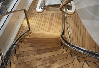 A staircase and the teak featured on board superyacht HASNA