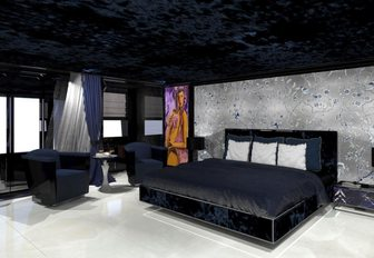 rendering of the grey and silver master suite on board luxury yacht SARASTAR