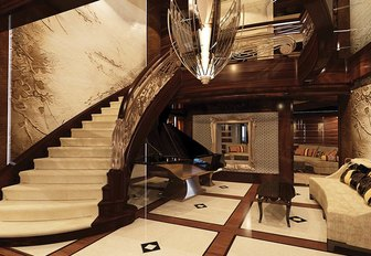 the stylish interiors of superyacht kismet are classic and timeless making her guest feel just at home while they enjoy their self isolating luxury yacht charter vacation
