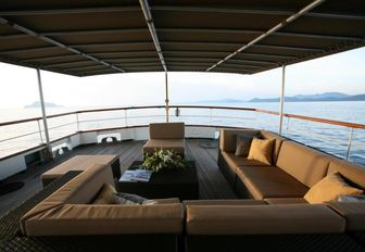Outdoor deck area on charter yacht CALISTO
