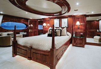 The master cabin of superyacht One Last Toy