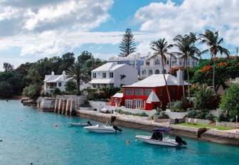colourful houses line the shore in Bermuda